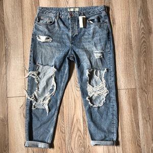 Topshop boyfriend Distressed Hayden jeans size 30